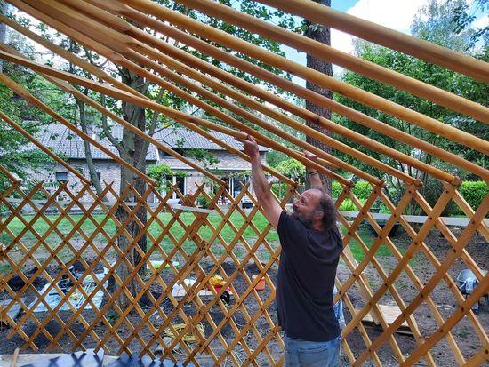yurt bouwen voorbereiding dak