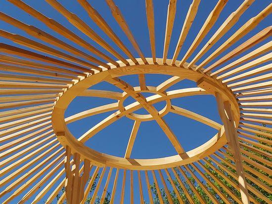 yurt bouwen voorbereiden koepel